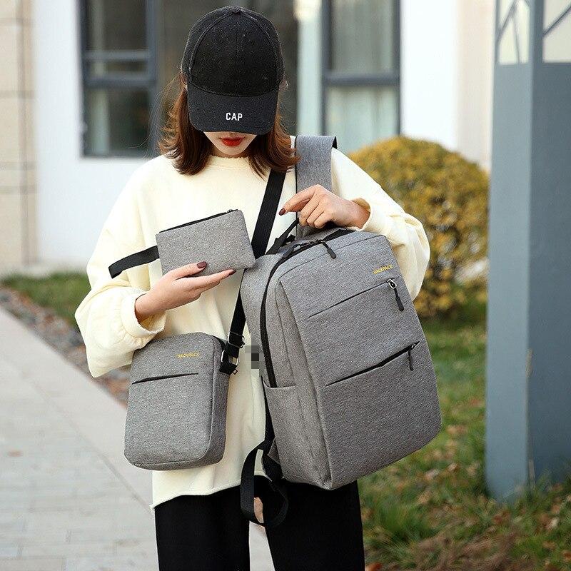 Canvas Backpack 3 Pcs/Set USB Charging Women  Solid School Backpacks Schoolbag For Teenagers Man Student Book Bag Boys Satchel