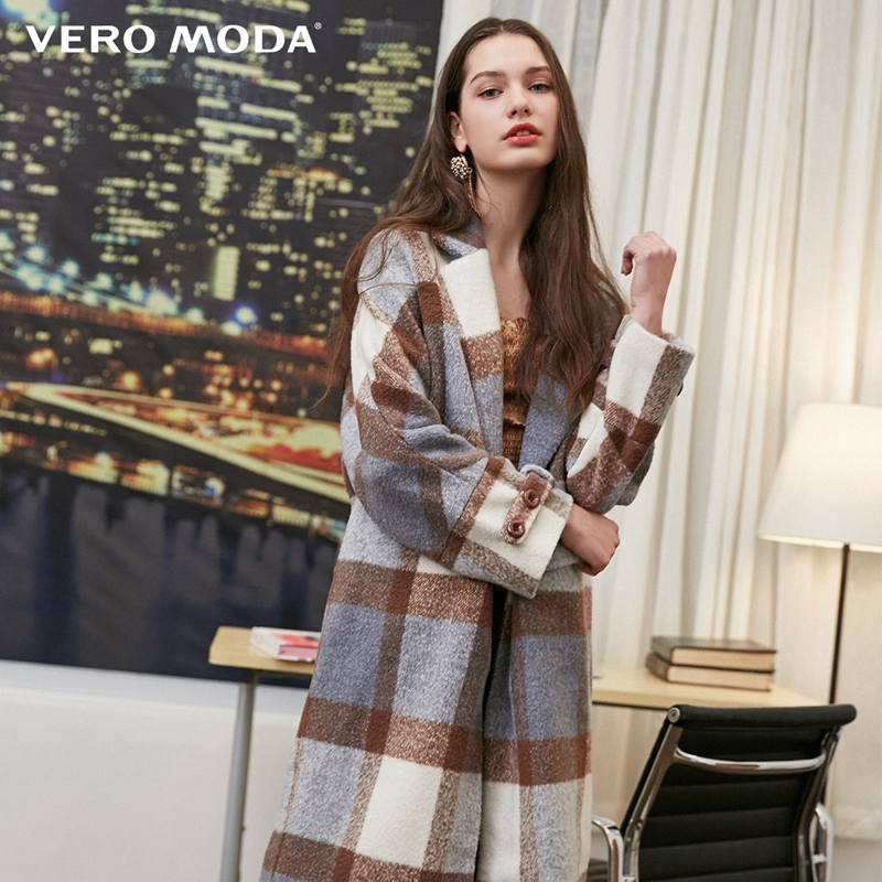 Vero Moda Women's New Waist Placket Decorated Long Plaid Wool Coat | 318327534