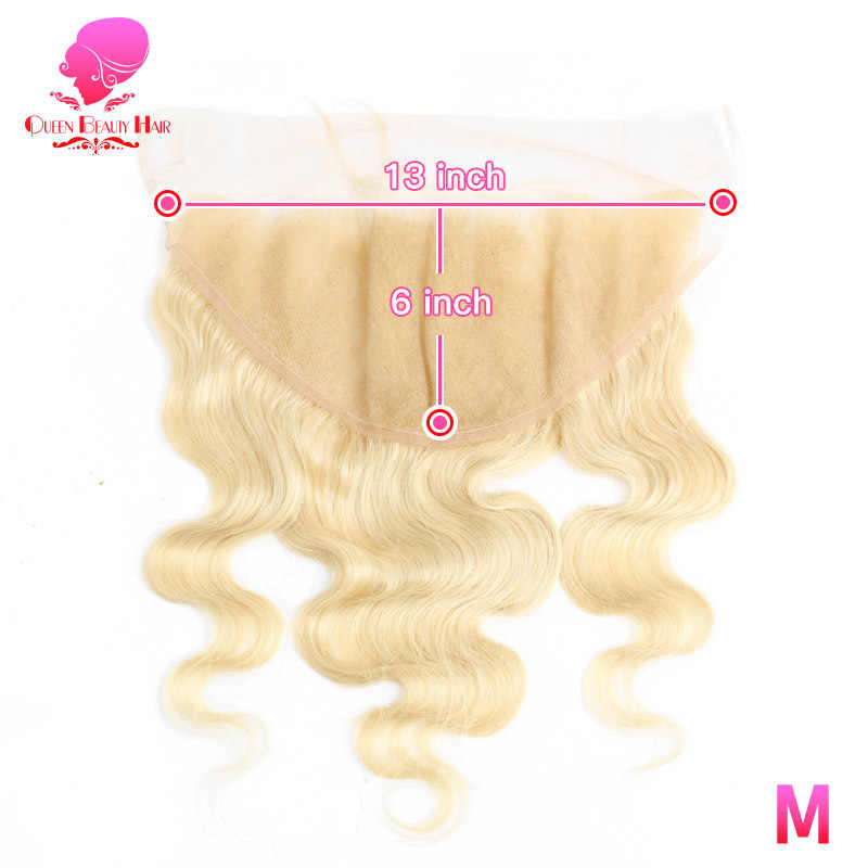 QUEEN 13x6 Lace Frontal Pre Plucked Body Wave 613 Blonde Remy Brazilian Human Hair 13*6 Frontal Closure Swiss Lace Baby Hair