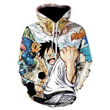 One Piece Man 3D Hoodie Anime Monkey Sweatshirt Oversized Streetwear Jacket Fashion Winter Hoodie Print Casual Hooded Men Full hooded 3d fireworks print flocking trippy hoodie