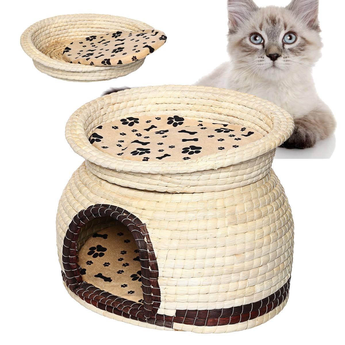 New 2-Tier Tent <font><b>Kennel</b></font> Puppy-Mat Pet-House Willow Cat Tree House <font><b>Dog</b></font> <font><b>Kennel</b></font> Double Layers image