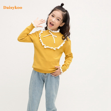 цена на Daisykoo New Cotton Girls Sweater Autumn And Winter Coat Sweater Children's Pullover Baby Bottoming Lace Sweater Y009