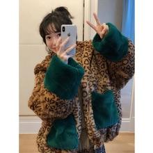 2019 Autumn New Medium Long Cap Green Splice Leopard Print Thickened Furry Coat Women Zipper Jackets and Coats