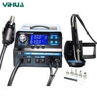YIHUA 992DA + 4 en 1 LCD numérique pistolets à Air chaud Station de soudage + stylo à vide + fumer électrique fer à souder BGA Station de reprise|À souder Stations| |  -