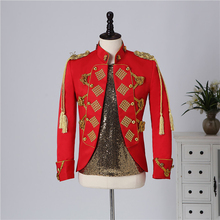 Jacket Coat Blazer Stand-Collar Nightclub Red Slim Singer Stage-Costume Rivet Epaulet