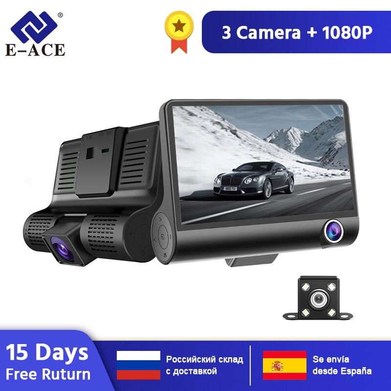 Câmera Traço DVR Carro 4 Polegada 3 B28 E-ACE Câmeras Lente Retrovisor com Câmera Auto Gravador de Vídeo Registrator Traço Cam lente dupla Dvr