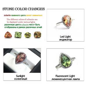 Image 2 - CSJ Elegant Zultanite Rings Sterling real 925 Silver Created Stone Color Sultanite Fine Jewelry Women Lady Wedding Party Gift