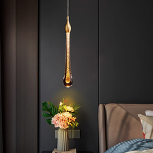 Bedroom bedside gold powder glass chandelier post modern simple living room dining room table lamp creative water drop small
