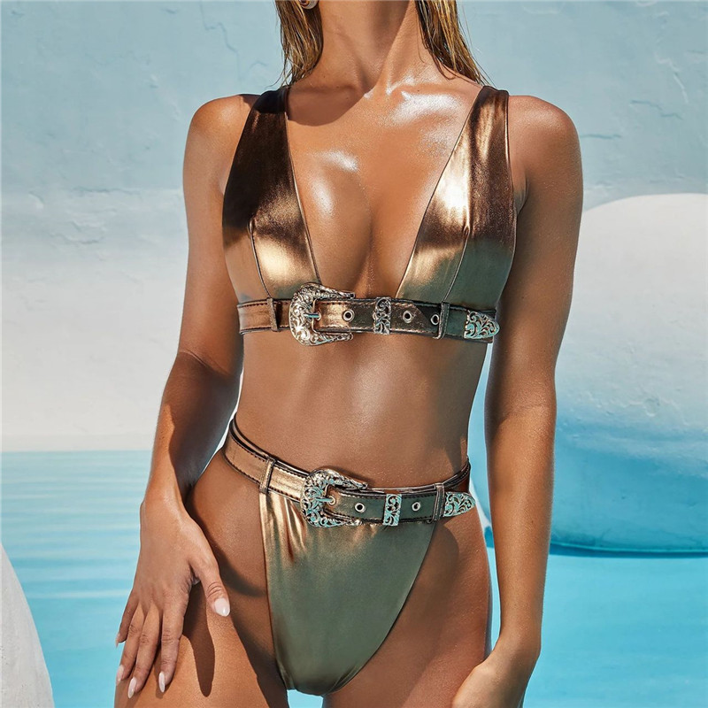 Metallic Triangle Bikini 2020 Gold Swimsuit Luxury Swimwear Women Belt Bandage Reflective High Waist Bathing Suit Low Cut Tops