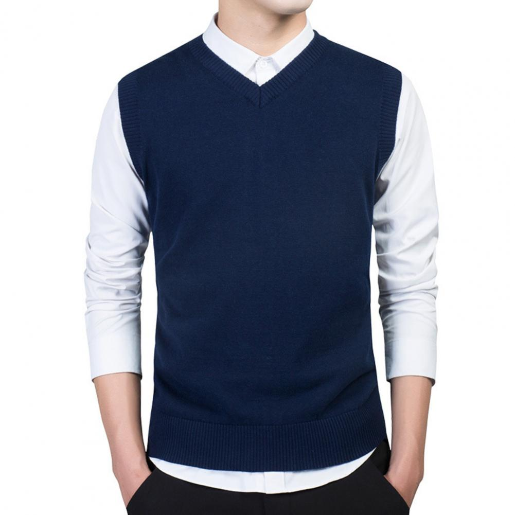Men Autumn Winter Solid Color Sleeveless V Neck Knitted Sweater Business Vest 2