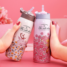 Portable Stainless Steel Thermos Bottle Flask Thermal Flask with Straw Kids Girl School Insulation Vacuum Thermocup Cup Bottle цена и фото