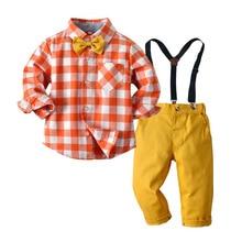 Формальная одежда для мальчиков, оранжевая, белая клетчатая одежда, детское свадебное платье, Детский костюм с длинными рукавами, осенний костюм для мальчиков, комплект детской одежды
