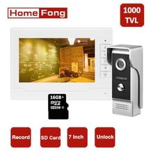 Homefong Video Intercom System Wired Doorbell Camera Home Video Door Phone Intercom Kit HD Day Night Unlock Rainproof