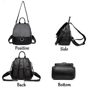 Image 3 - Серый рюкзак для женщин 2020, кожаный рюкзак большой емкости, женский рюкзак, сумка через плечо для молодых сумок