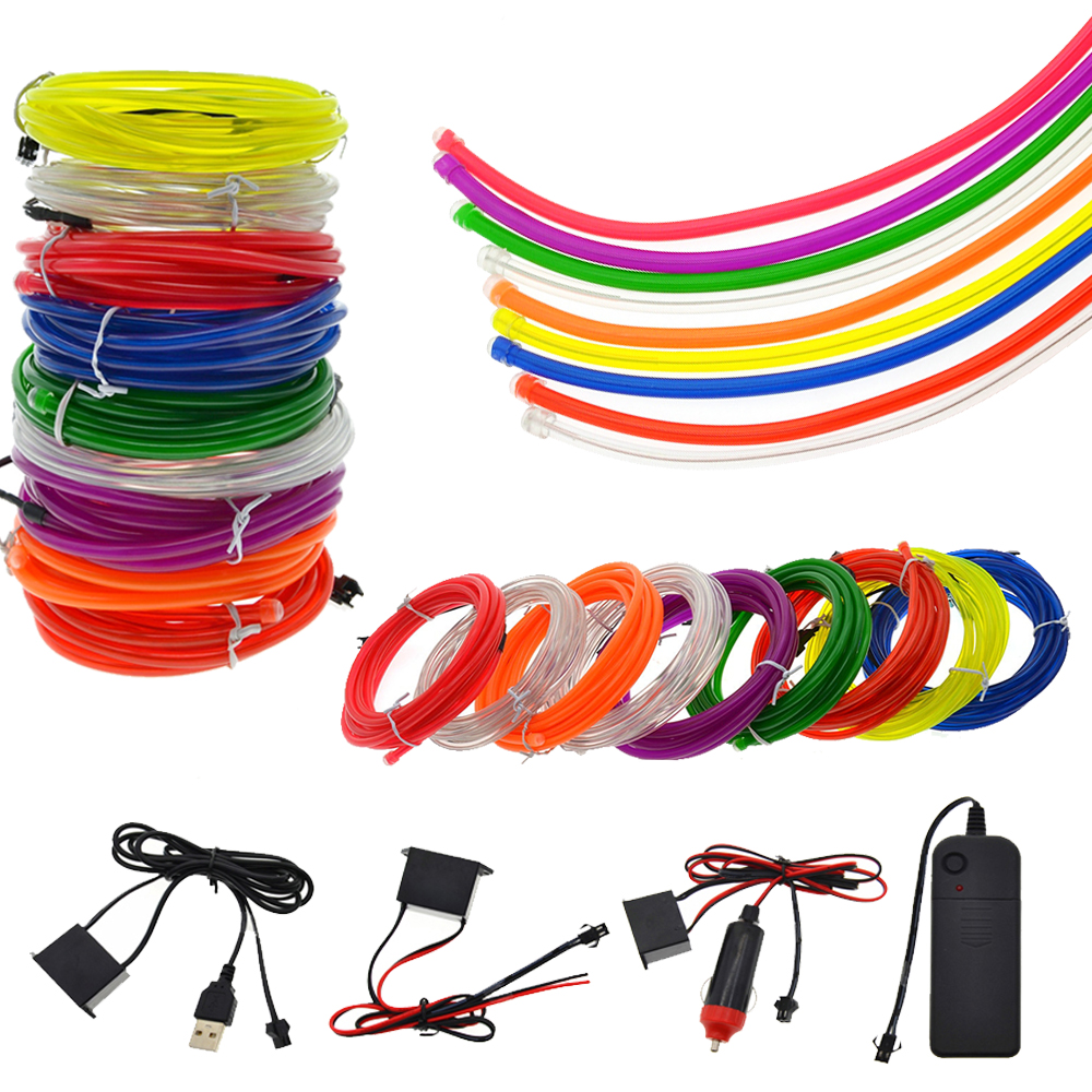 5MM Neon Light Dance Party Decor <font><b>car</b></font> Lights Neon LED lamp Flexible <font><b>EL</b></font> Wire Rope Tube Waterproof LED Strip With <font><b>Controller</b></font> image