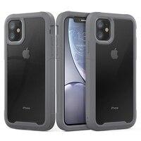 Funda de silicona a prueba de golpes para iPhone, 11 Pro Max, transparente, 13, 12, 7, 8 Plus, X, XR, cubierta acrílica de TPU de lujo