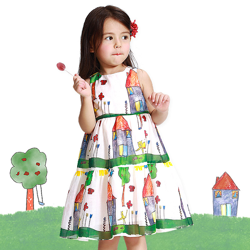 Baby Girls Clothing New 2018 Kids Dress Fashion Cartoon House Children Clothes Sleeveless Dresses For Girls Dress
