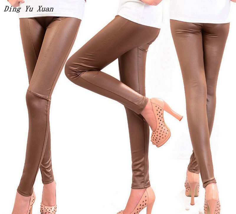 Womens Black Khaki Brown Stretch Leather Leggings Push Up Femme Quality Pu Leather Leging Women Casual Skinny Leggin Pants Mujer