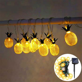 LED Pineapple Solar String Light Waterproof Solar Powered Hanging Light For Christmas Outdoor Garden Lamp Decoration Party Lamp 10led 4m solar powered chinese hanging lantern string light outdoor garden yard decoration light lamp rgb warm white