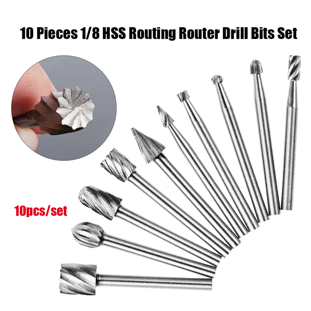 10pcs HSS Rotary Router Drill Bit Set Burr Tools Wood Drill Cutting DIY Routing Carving Electric Grinding Head EngravingTool(China)