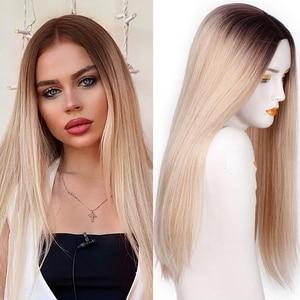Image 1 - Spring sunshine pelucas sintéticas largas, resistentes al calor, rectas, sedosas, 22 pulgadas, Borgoña, negro, gris, rosa y marrón
