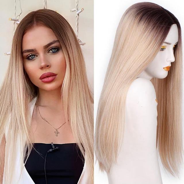 Spring sunshine pelucas sintéticas largas, resistentes al calor, rectas, sedosas, 22 pulgadas, Borgoña, negro, gris, rosa y marrón