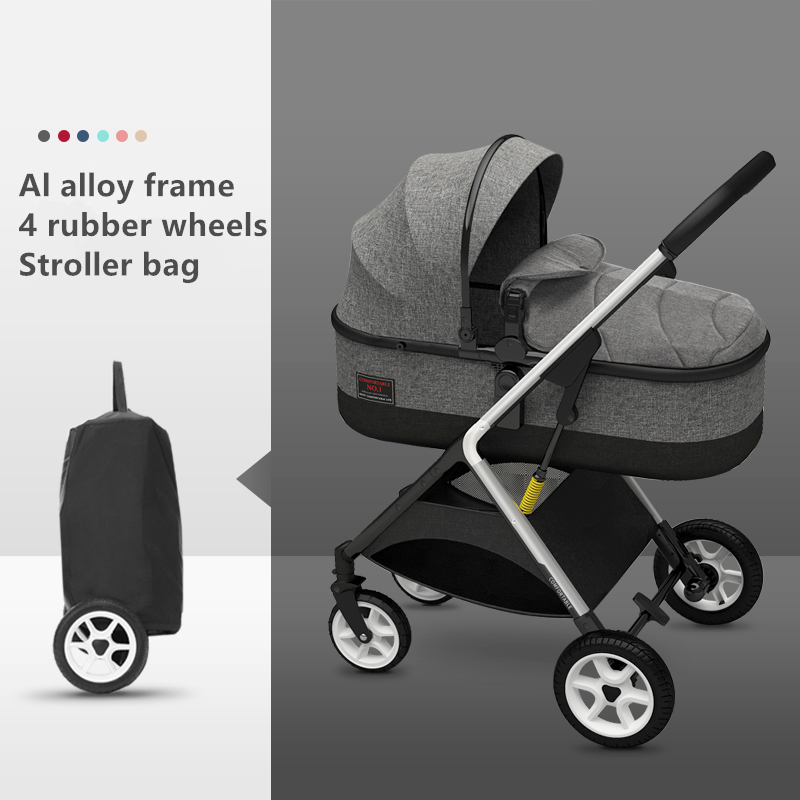 Europe US Free Shipping Luxury Baby Carriage 2 In 1 Stroller High Landscape Lying Or Dampening Folding Light Weight Two-sided