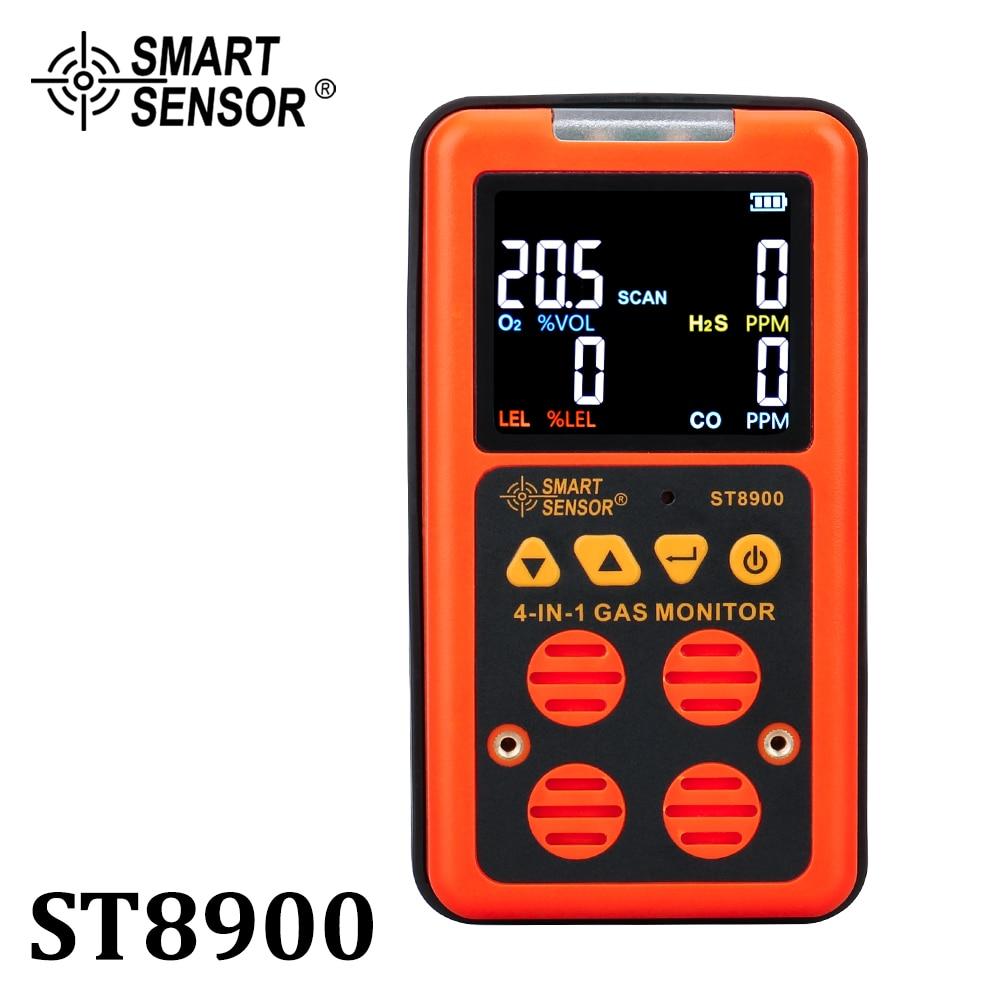 4 em 1 Multi H2S O2 Oxigênio Monitor De Gás Detector De Gás Sulfeto de Hidrogênio detector De Monóxido De Carbono CO sensor de Gás Combustível de gás LEL analisador de metro