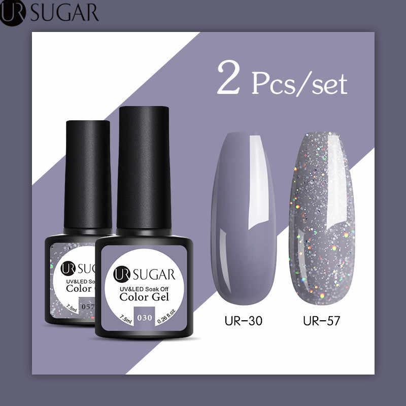 UR GULA 2 Pcs/set Glitter Uv Gel Nail Polish Set Warna Seri LED Nail Gel Varnish Semi Permanen LED Kuku pernis Payet Gel