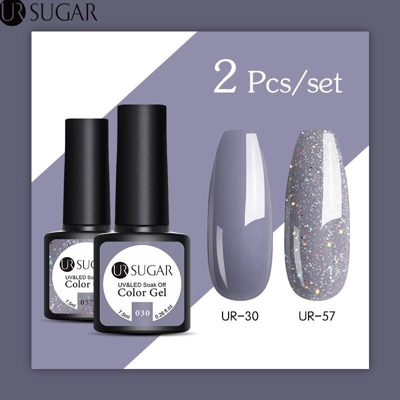 UR SUGAR 2Pcs/set Glitter UV Gel Nail Polish Set Color Series Led Nail Gel Varnish Semi Permanent Led Nail Varnish Sequins Gel