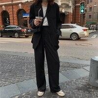 2019 autumn preppy style Fashion Women Business solid color Jacket Coat Suits 2 piece women pant suit Blazer pants Set(K394)