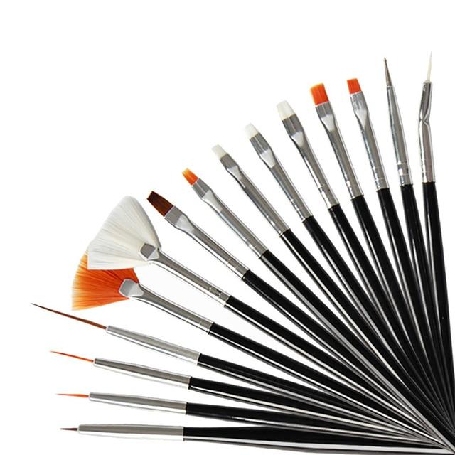 15pcs Long Tail Brush Pen Plastic Handle Pull Hook Line Pen Nail Artists Set Short Miniature Detail Soft Acrylic Oil Art Escolar 2