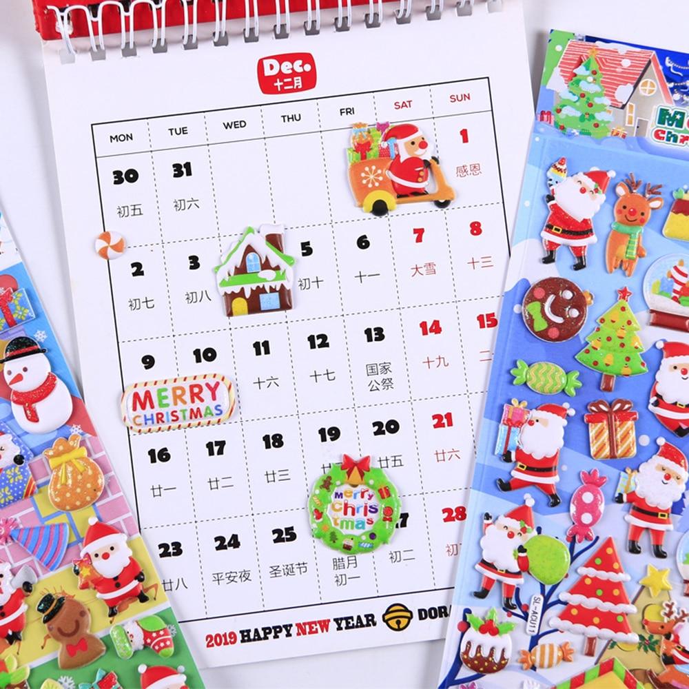 Купить с кэшбэком 1pcs Christmas Santa Claus Elk 3D Stickers Cartoon Foam Scrapbooking Decorative Sticker Label Diary Stationery Album Stickers
