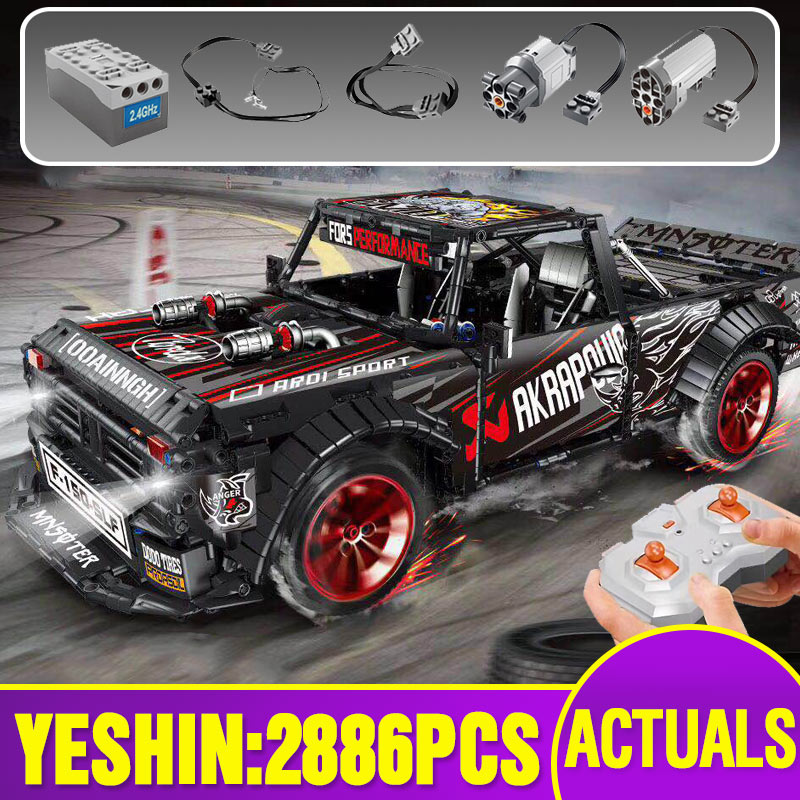 Technic Car Model Compatible With Lepining MOC-34316 Fords Mustang F-150 Hoonitruck Building Blocks Bricks Kidss Christmas Toss