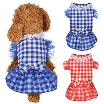 Pet Spring Summer Clothes For Dog Girls Small Medium Dog Starlight Plaids Gauze Skirt For Puppy Fashion Wearing. image
