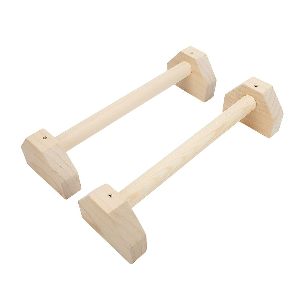 Fitness <font><b>Push</b></font>-<font><b>Up</b></font> Stands Bars <font><b>Sport</b></font> Gym Exercise Training Chest H Shaped Pine Wood Calisthenics Handstand Parallel Bar Double Rod image
