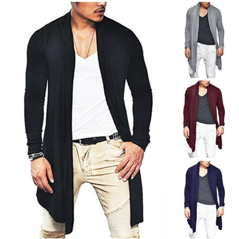 Men Winter Warm Long Wrap Cardigan Jumper Coat Jacket Casual Outwear Sweater