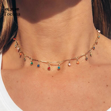 Tocona Bohemian Gold Necklace for Women Charming Colorful Stone Chain Chockers Handmade Party Jewelry Wholesale collares B31203(China)