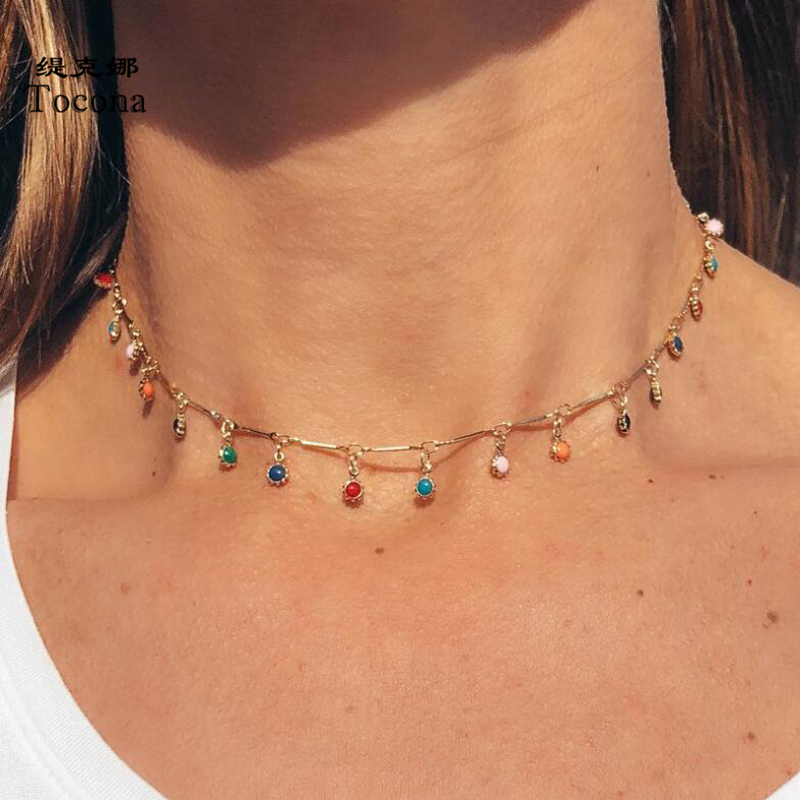 Tocona Fashion Gold Necklace for Women Charming Colorful Stone Chain Chockers Handmade Party Jewelry Wholesale collares B31203