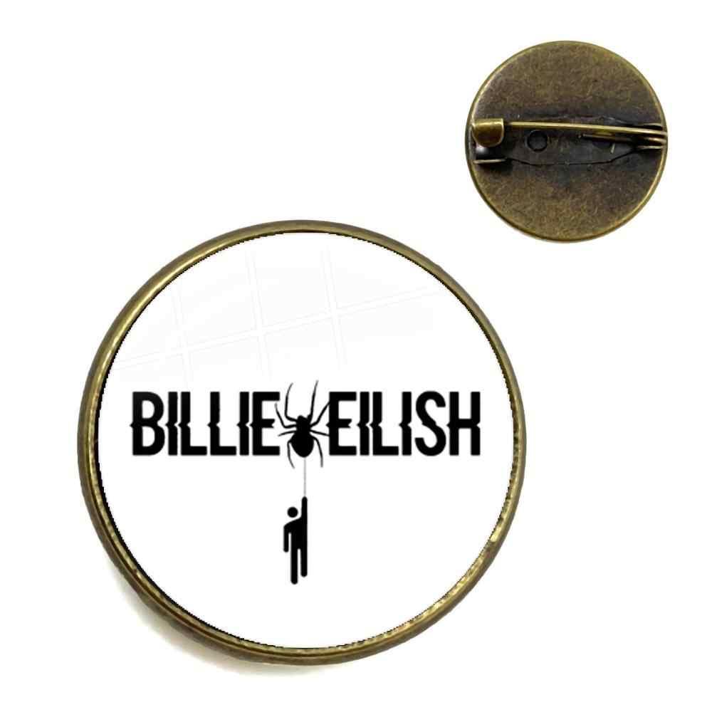 Cetak Baru Penyanyi Billie Eilish Logo Bros Orang Jahat Tidak Tersenyum Padaku Populer Hip-Hop Penyanyi Trendi Kerah Pin untuk Para Penggemar Hadiah