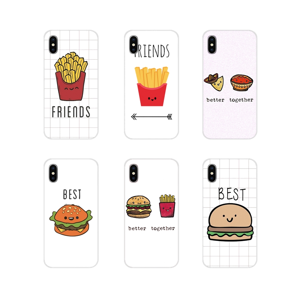 For Apple <font><b>iPhone</b></font> X XR XS 11Pro MAX 4S 5S 5C <font><b>SE</b></font> 6S 7 8 Plus ipod touch 5 6 Soft <font><b>Case</b></font> Cover <font><b>BFF</b></font> Best Friends Burger and Fries Food image