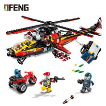 Enlighten NEW Building Bricks city series police recon helicopter Blocks Jouet Model Educational Toys For Children
