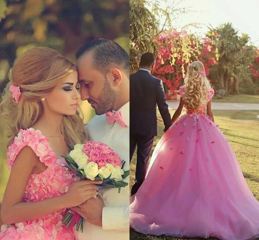 Beautiful Charming Pink Saudi Arabia Vintage Court Train Flowers Ball Bridal Gown Vestido De Noiva Mother Of The Bride Dresses