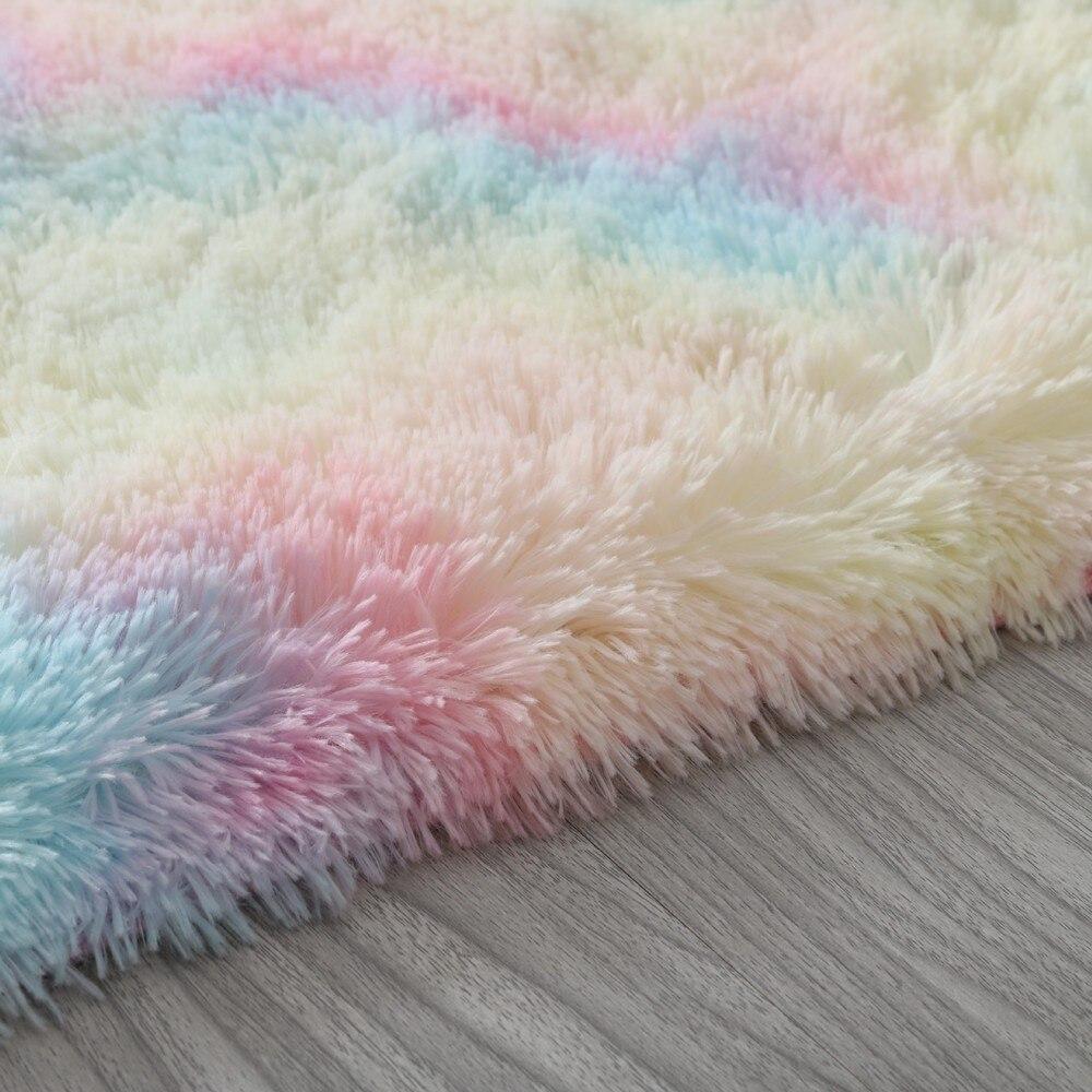Rainbow Fluffy Rugs Anti-Skid Shaggy Area Rug Carpet Dining Room Home Floor Mat