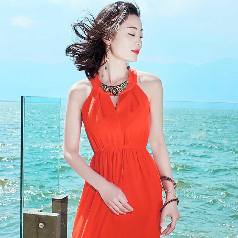Vestido de verano de playa Vestido de manga larga de mujer vestido rojo de fiesta de la caja del Tazón