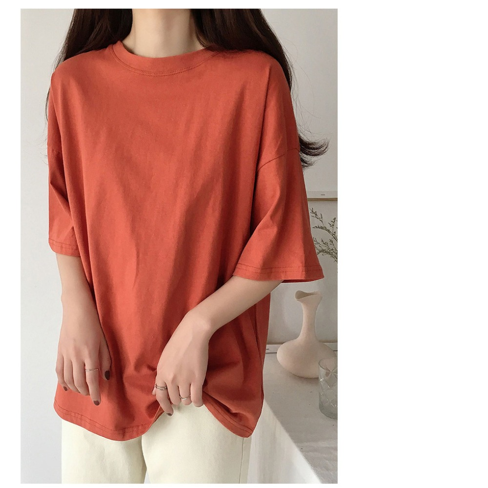 H219d5da05d03442a861eb35a6ff22bedV - Summer O-Neck Short Sleeves Minimalist Loose Basic T-Shirt
