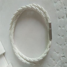 40 cm men and women casual leather rope bracelet multi-layer woven pu bracelet Korean black buckle bracelet(China)