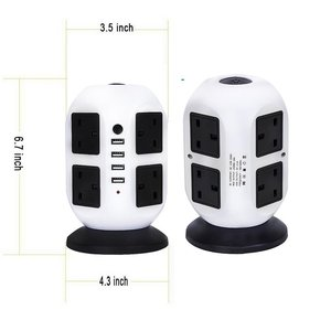 Image 2 - Tower Power Strip Vertical UK Plug Adapter Outlets 8 way AC Multi Electrical Sockets with USB Surge Protector 3m Extension Cord