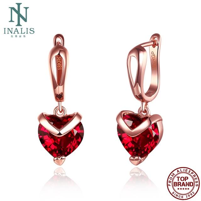 INALIS Heart Shape Fashion Earrings For Women 2021 Statement Transparent Red Zircon Rose Gold Korea Drop Earring Jewelry Hot 1