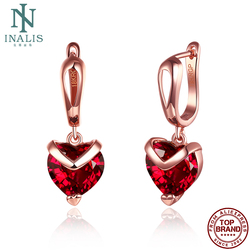 INALIS Heart Shape Fashion Earrings For Women 2020 Statement Transparent Red Zircon Rose Gold Korea Drop Earring Jewelry Hot